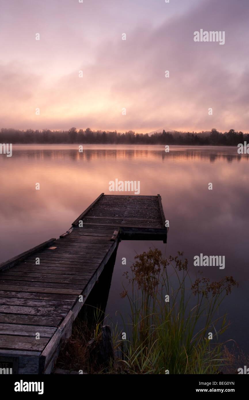 Cassidy Lake lever du soleil dans le brouillard et de rivage et le quai Photo Stock