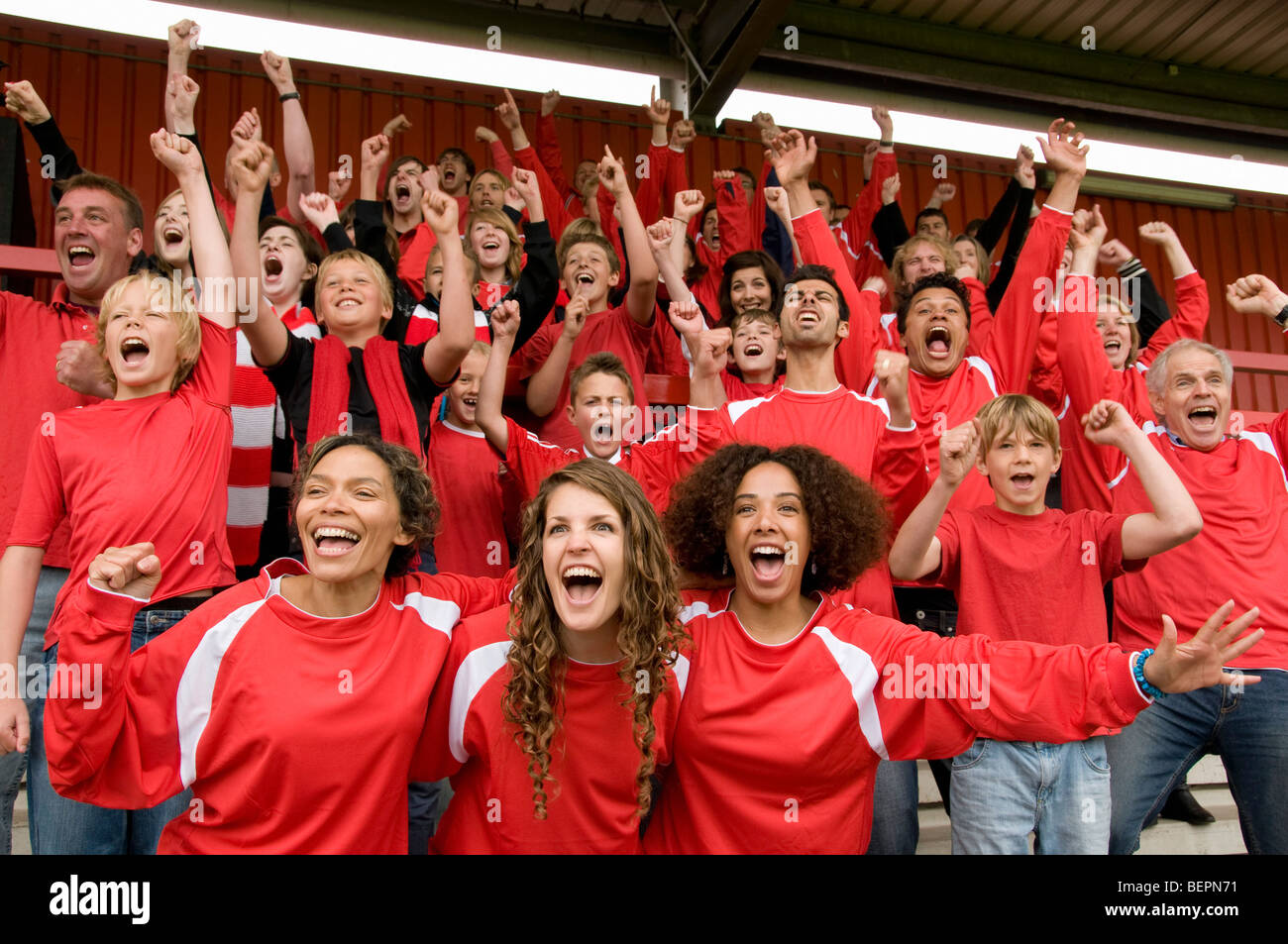 Groupe de supporters de football célèbre Photo Stock