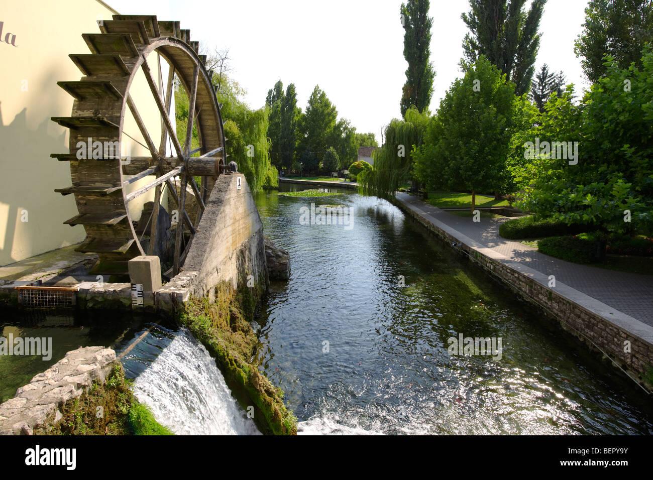 Roue du moulin à Tapolca - Balaton, Hongrie Photo Stock