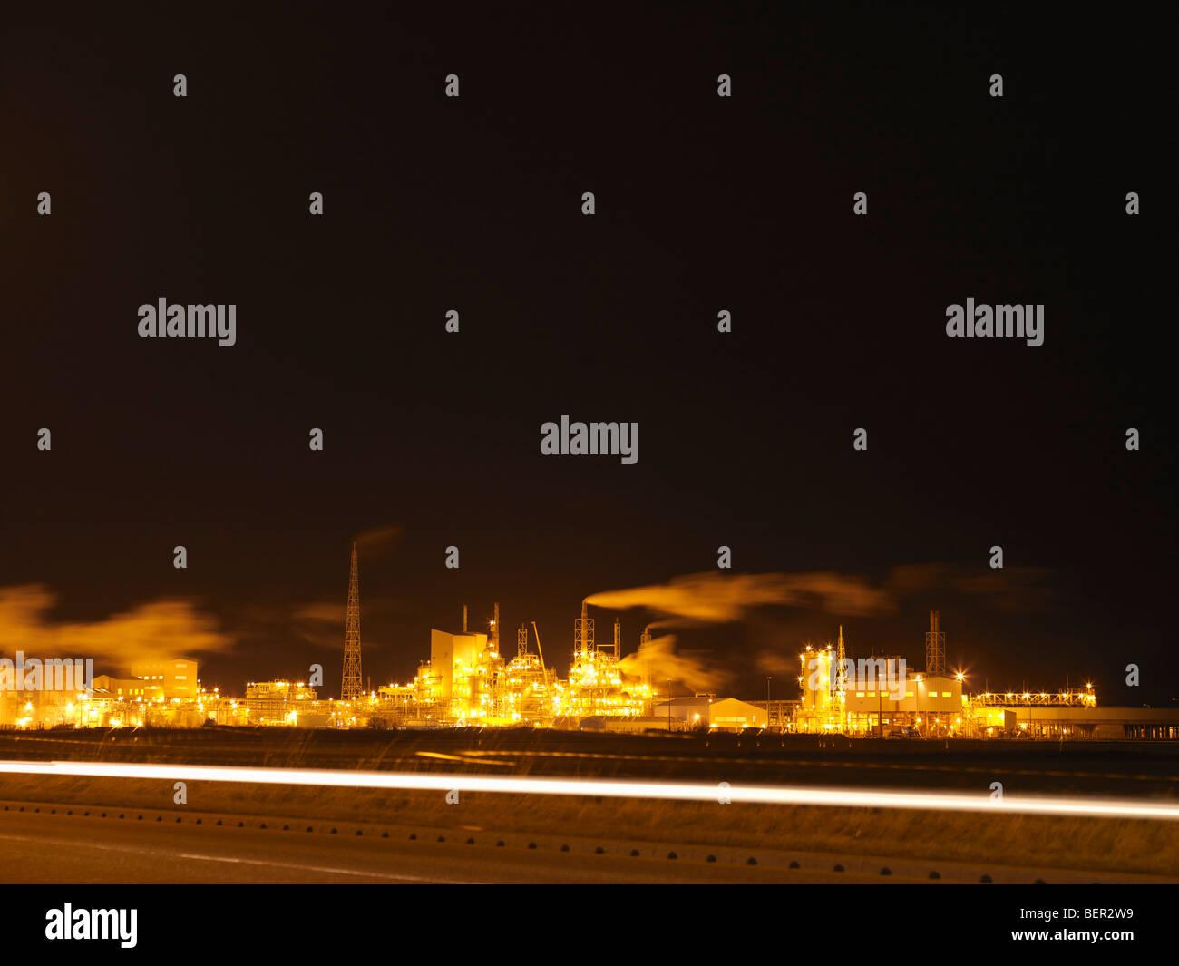 Port industriel de nuit Photo Stock