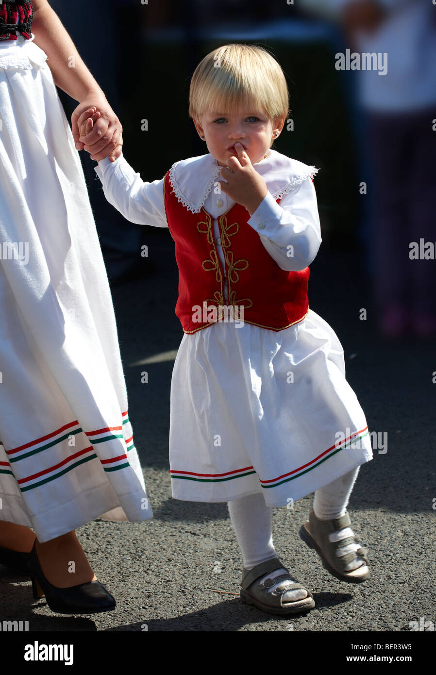 Jeune fille en costume traditionnel - Hongrie Photo Stock