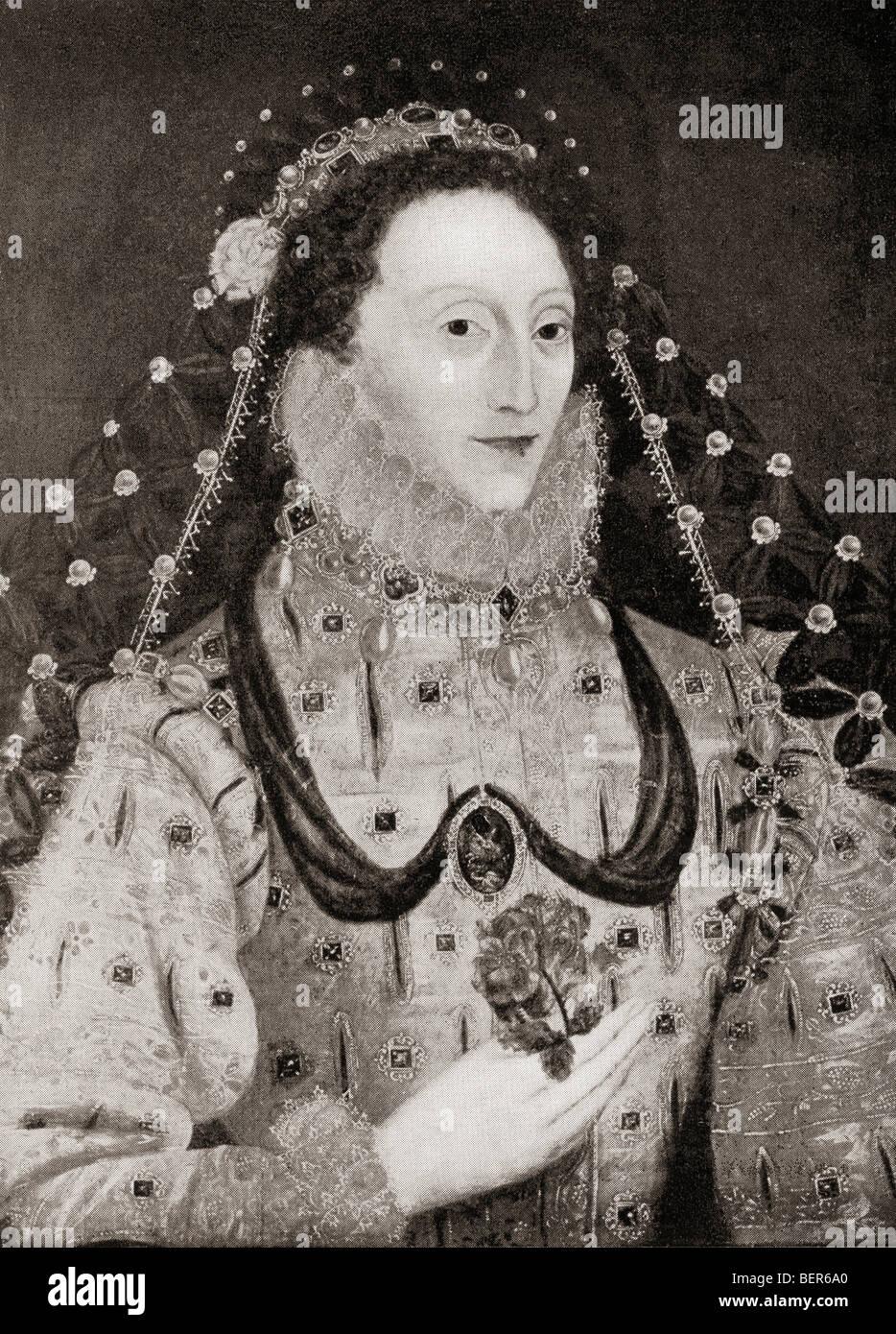 Elizabeth I, 1533 à 1603. Reine d'Angleterre et l'Irlande. Le livre d'Elizabeth et Essex par Lytton Strachey publié en 1928. Banque D'Images
