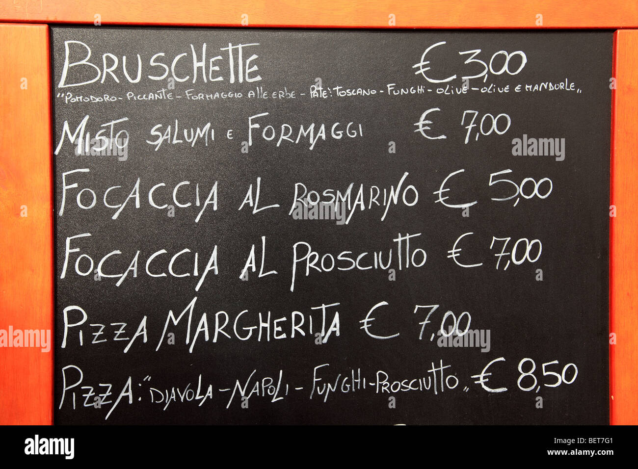 Café à l'extérieur du menu à Rome Photo Stock