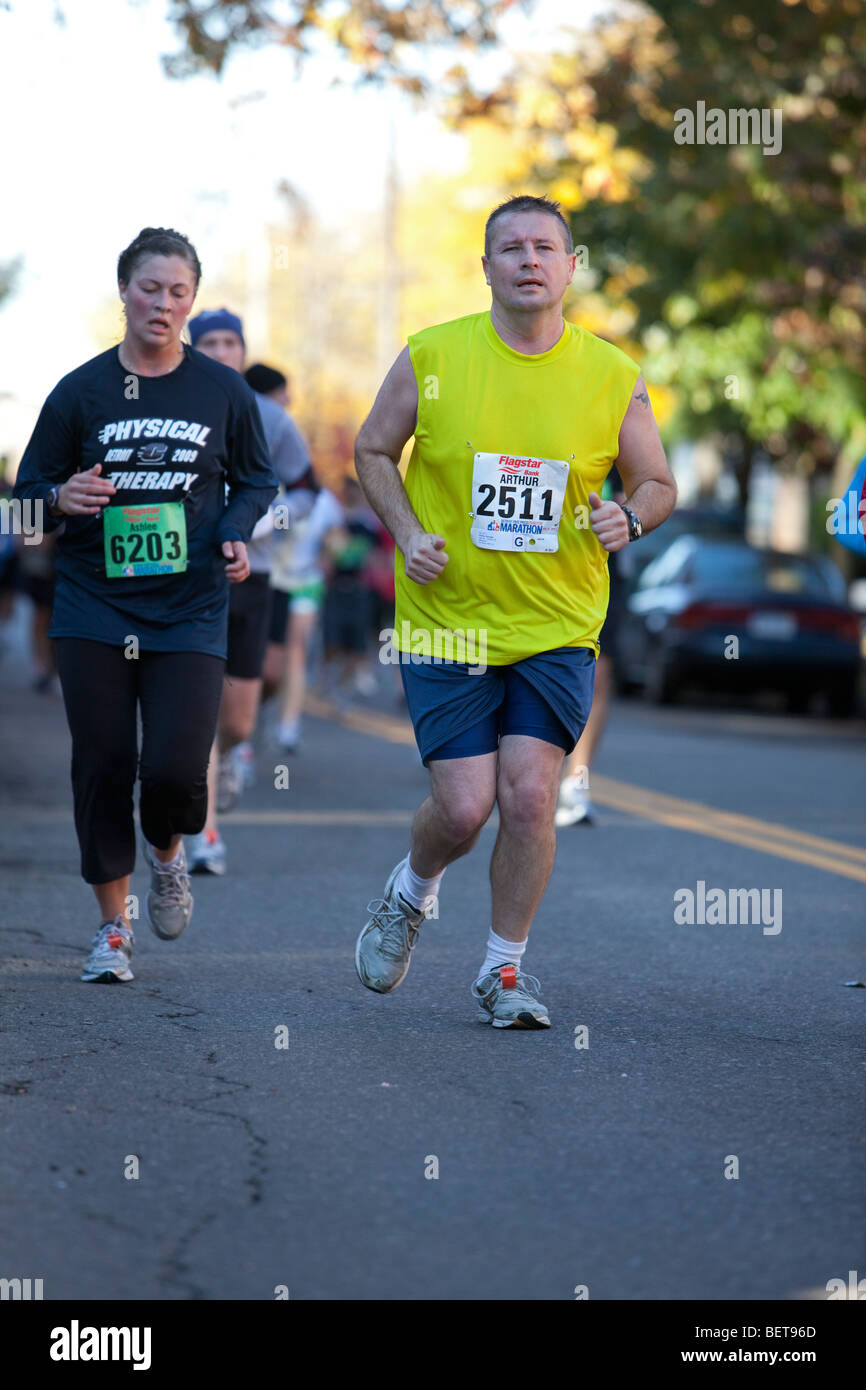 Detroit, Michigan - Les coureurs de marathon international de Detroit. Photo Stock