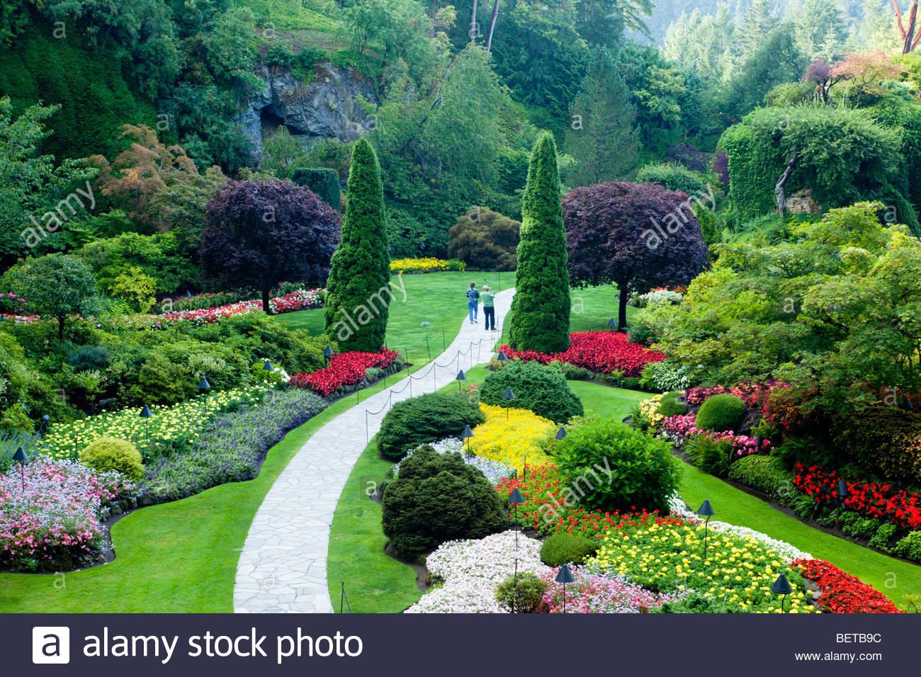 Jardin en contrebas au Butchart Gardens, Brentwood Bay, île de Vancouver, C.-B. Photo Stock