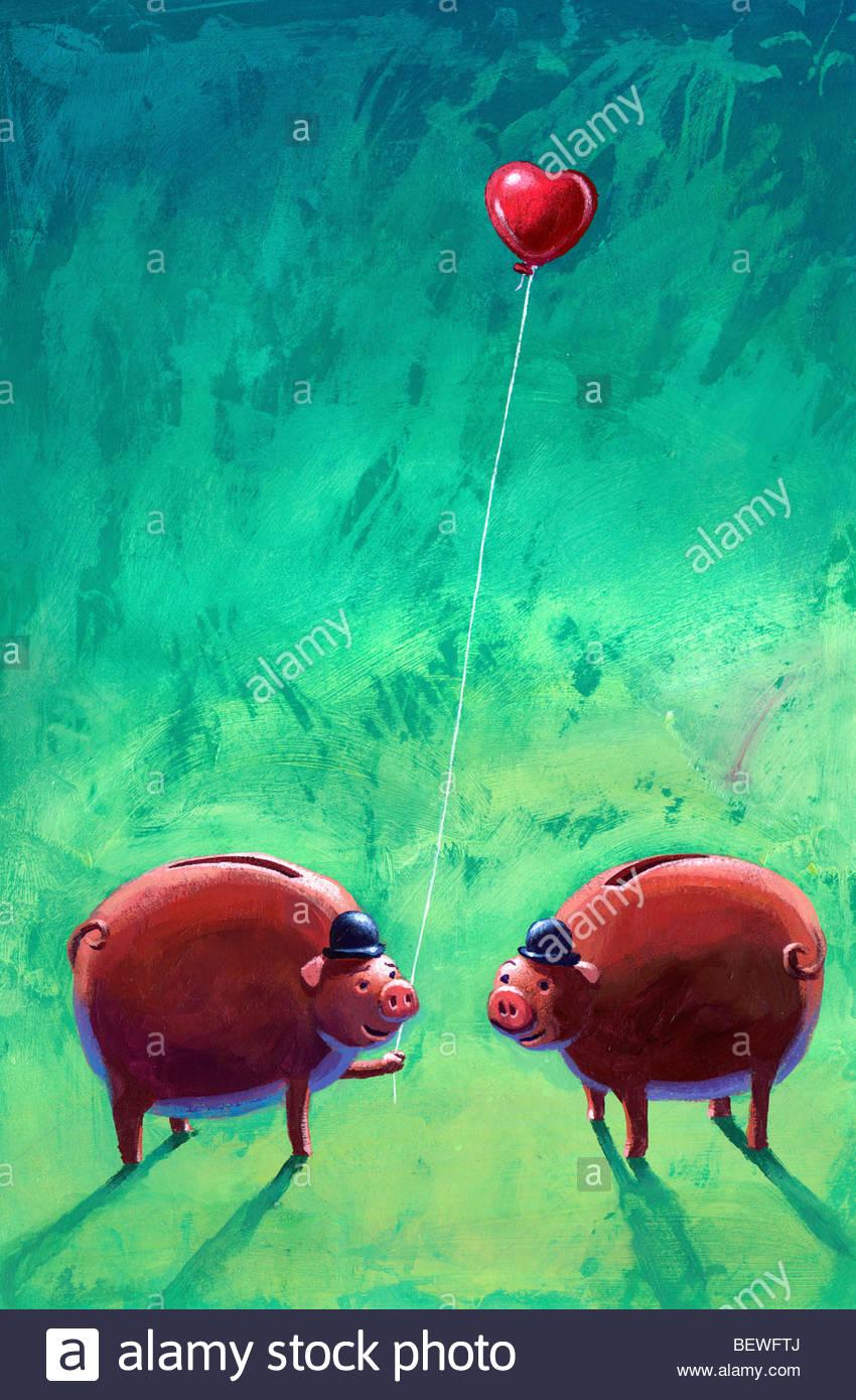 Les porcs d'affaires dans l'amour Banque D'Images