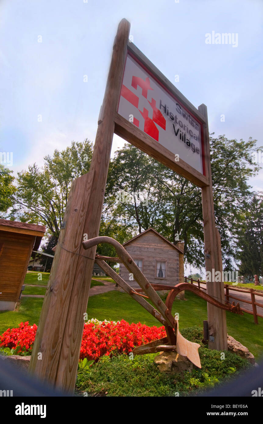 Village historique suisse à New Glarus Wisconsin Banque D'Images