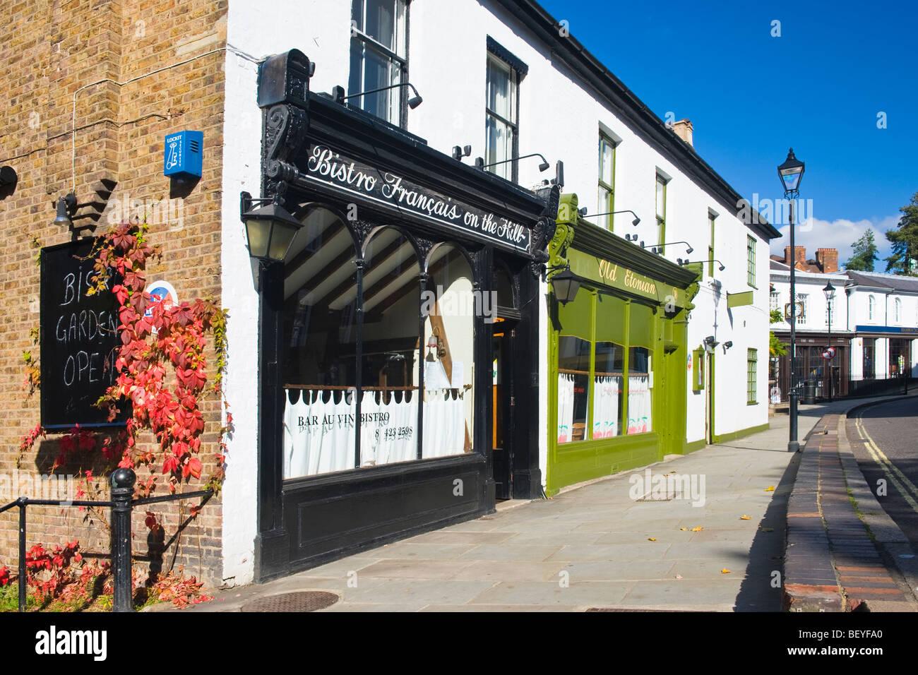 Harrow School , monument , Old Etonian restaurant gastronomique & Bistro francais sur la Colline Photo Stock