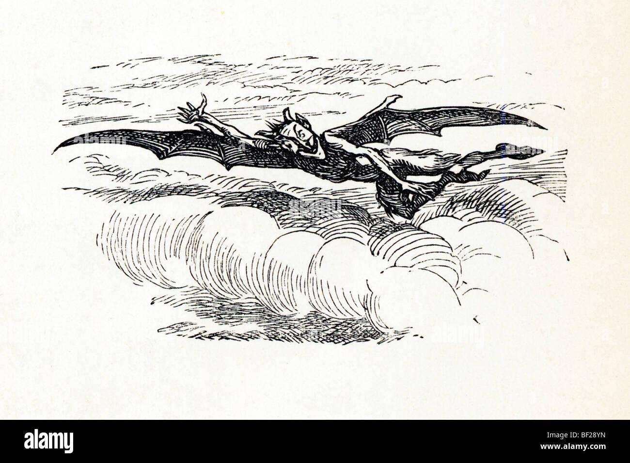 Le vampire, illustration de Vikram et le Vampire, 1870, ou des Contes de l'Hindu Devilry, par Sir Richard Burton Photo Stock