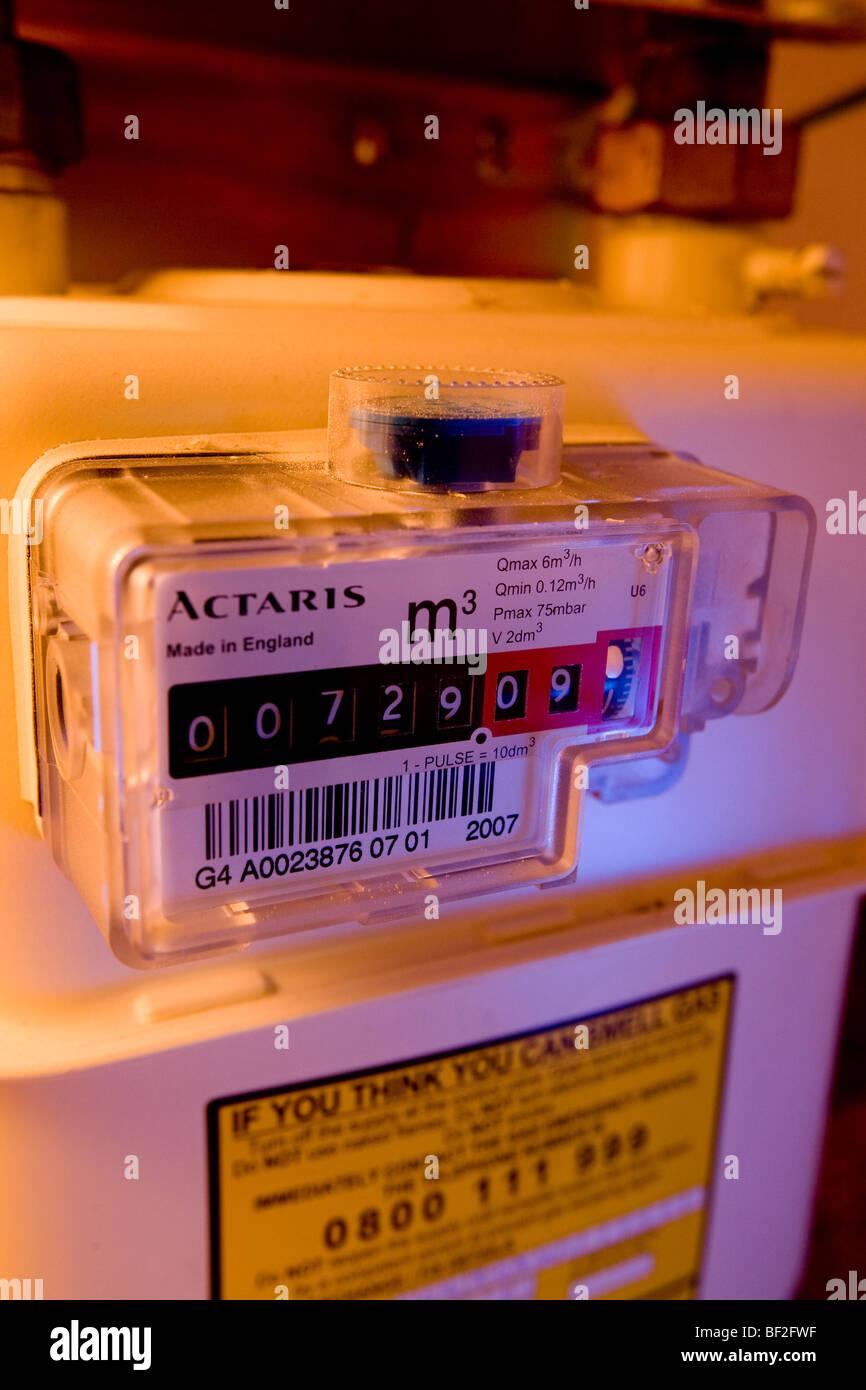 Compteur de gaz domestique anglais close up uk Grande-Bretagne Angleterre Ecosse Pays de Galles Irlande du Nord Photo Stock