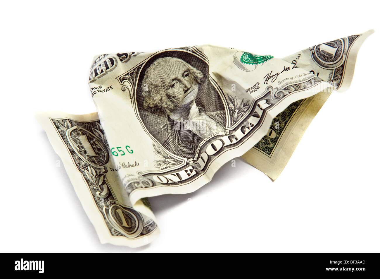 Un dollar froissé isolated on white Photo Stock