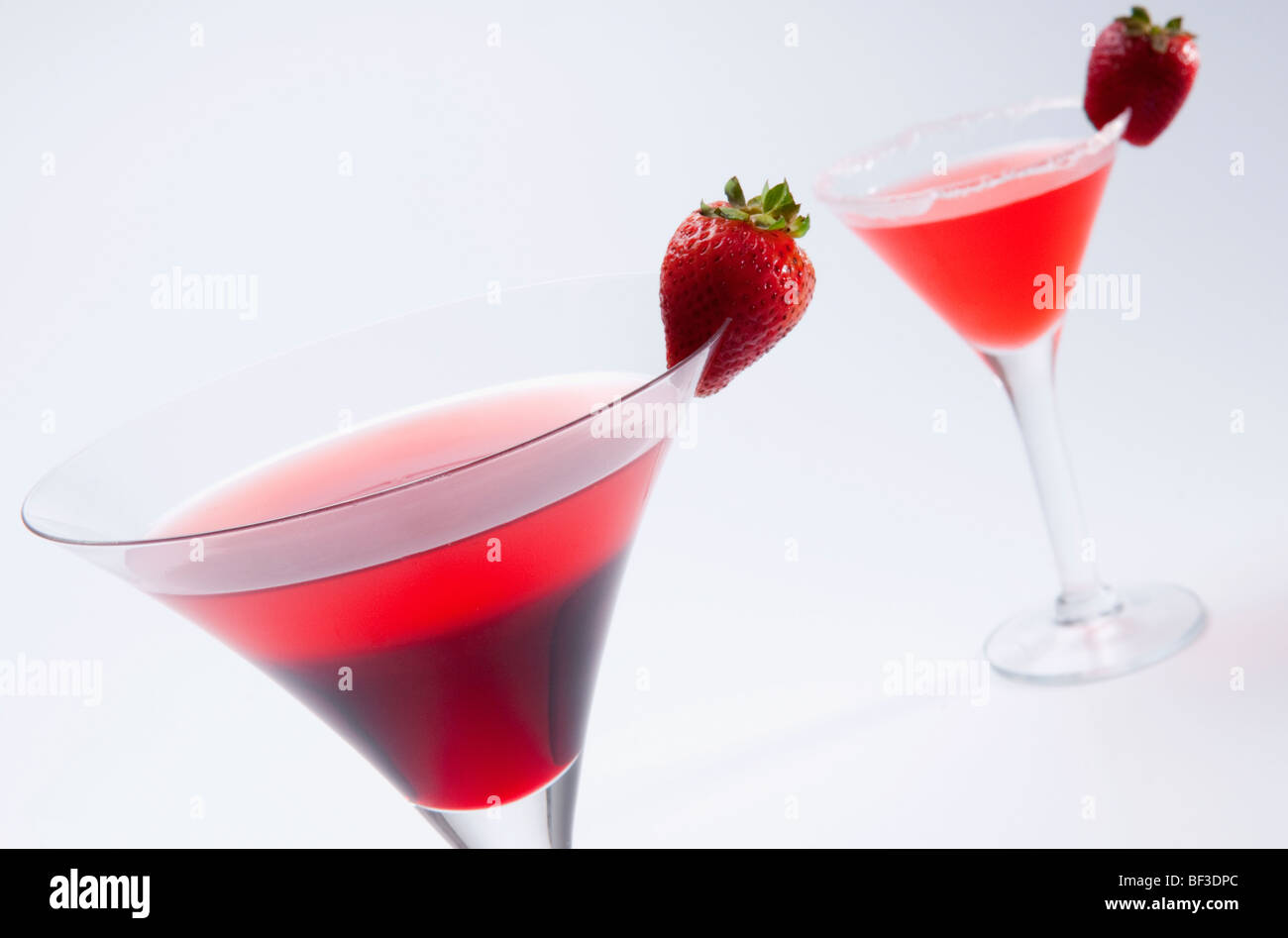Close-up de deux cocktails de fraises Photo Stock