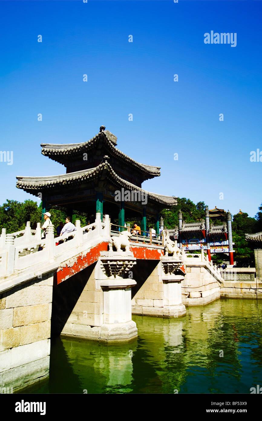 Pont de poèmes pastoraux, Summer Palace, Beijing, Chine Banque D'Images