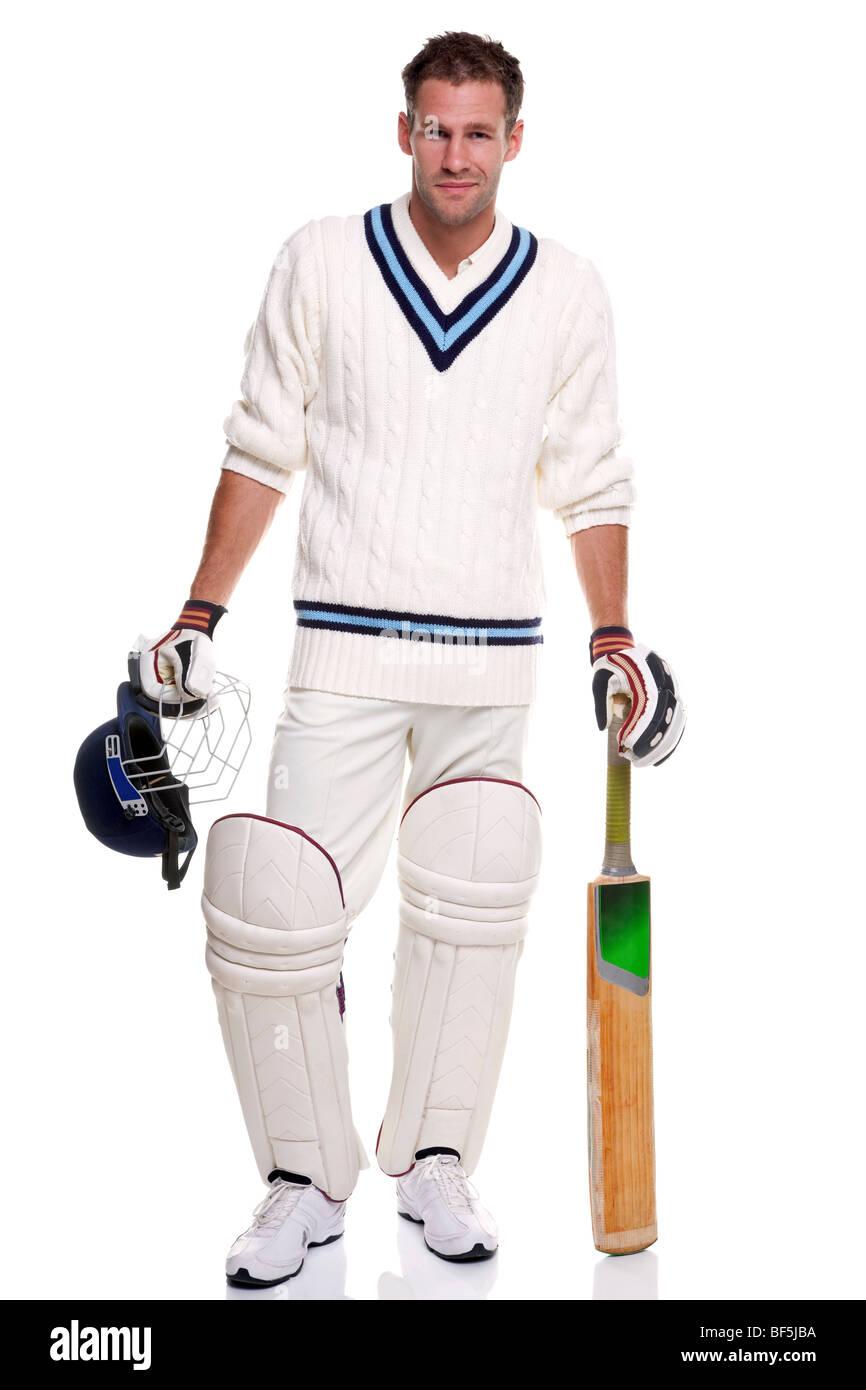 Cricketer, studio shot on white background. Photo Stock