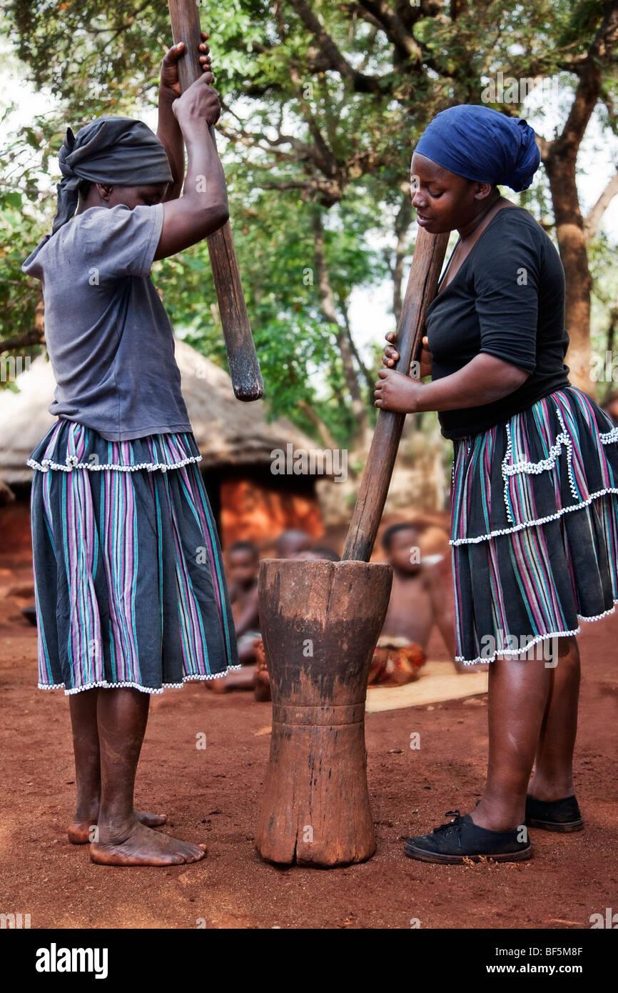 Les femmes Shangaan martelant le maïs. Banque D'Images