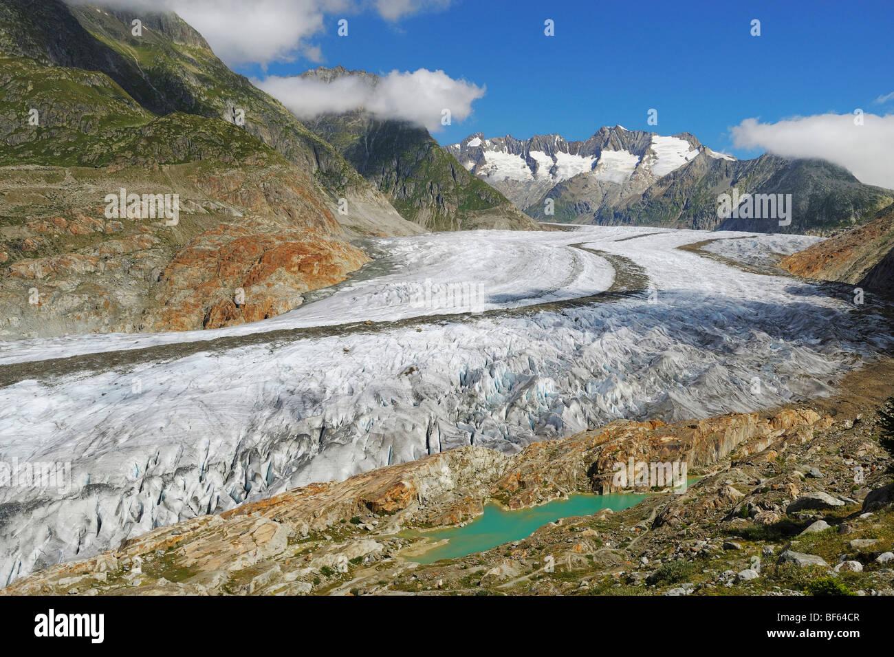 Glacier d'Aletsch, classé au Patrimoine Mondial de l'UNESCO Jungfrau-Aletsch-Bietschhorn, Conthey, Photo Stock