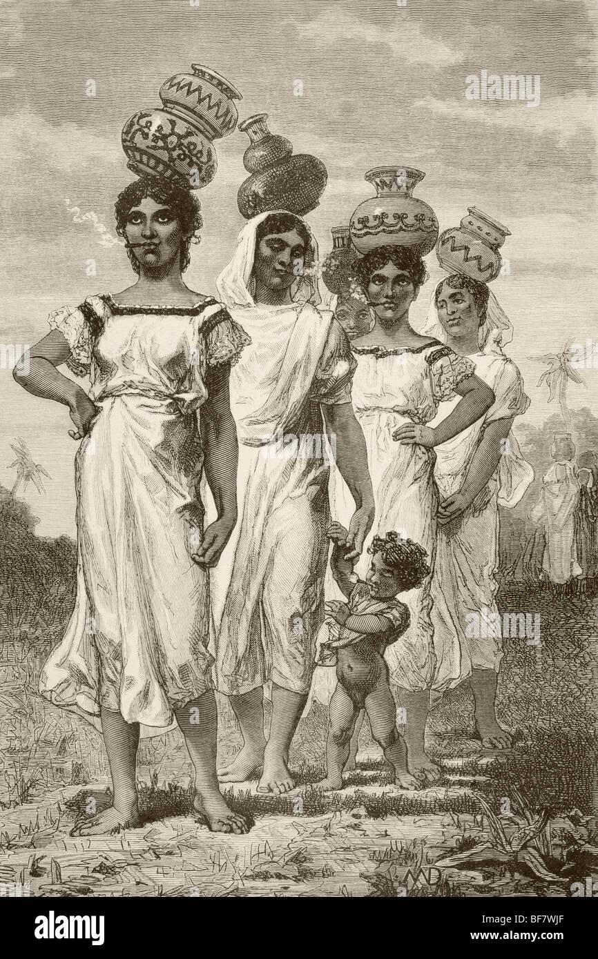 19e siècle les filles pays paraguayen Photo Stock
