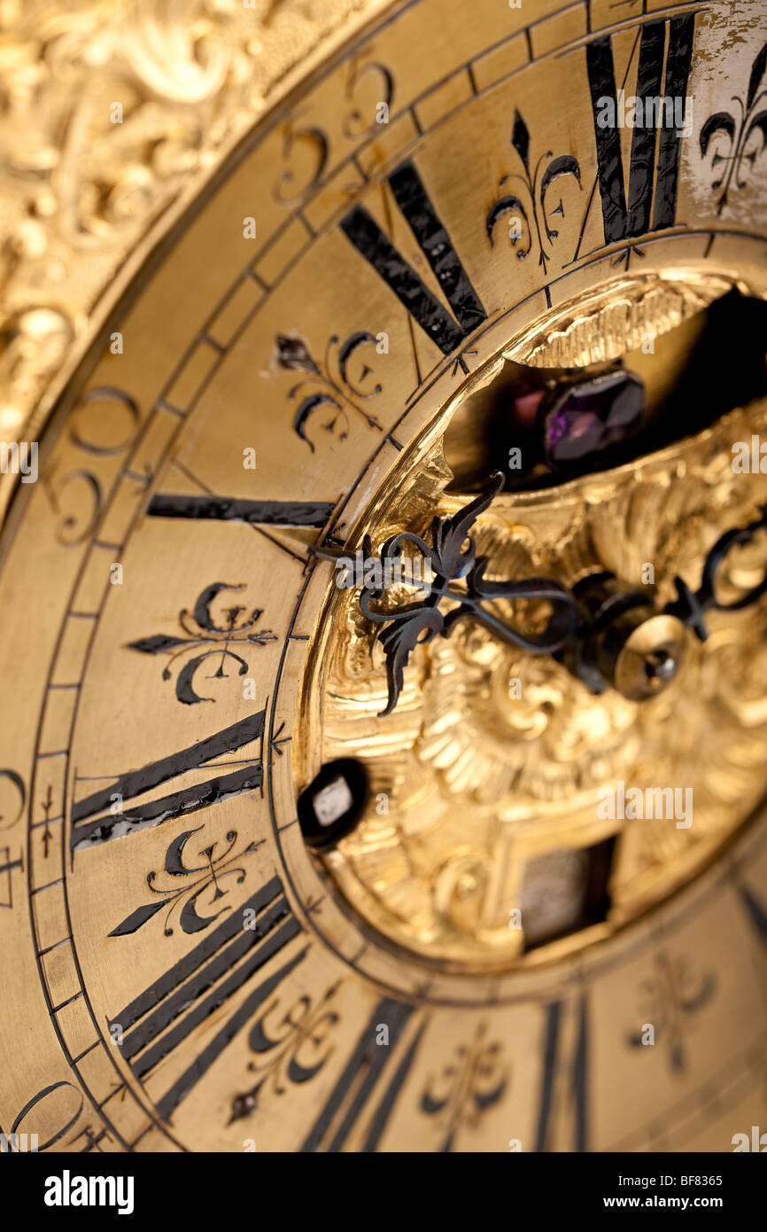 Close-up of historic horloge ancienne, objectif macro Photo Stock