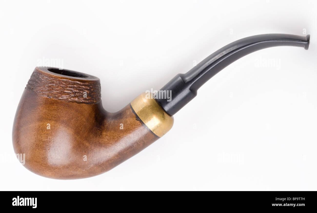 Retro pipe sur un fond blanc. Tuyau de fumer. Banque D'Images