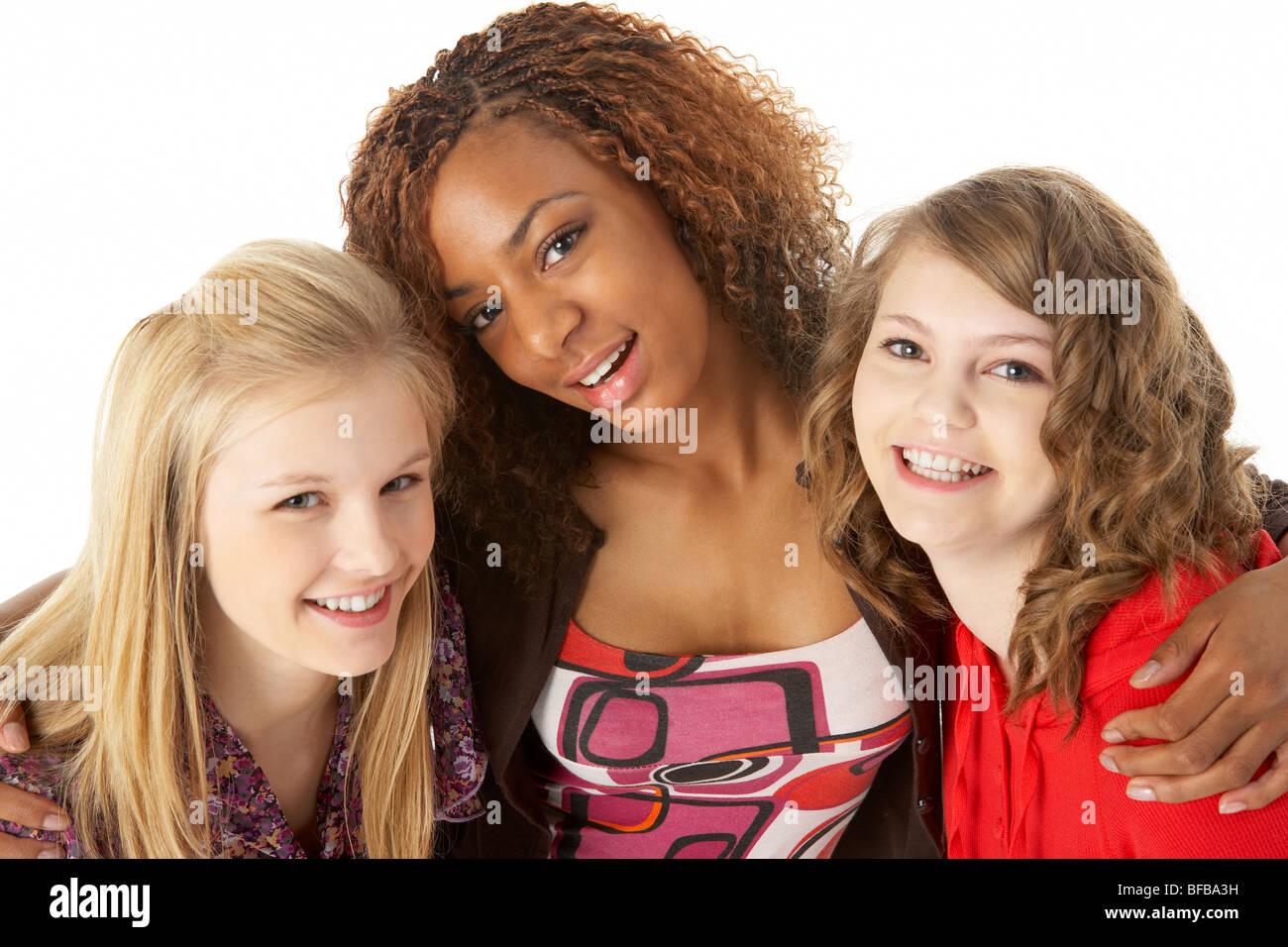Portrait de trois adolescentes Photo Stock
