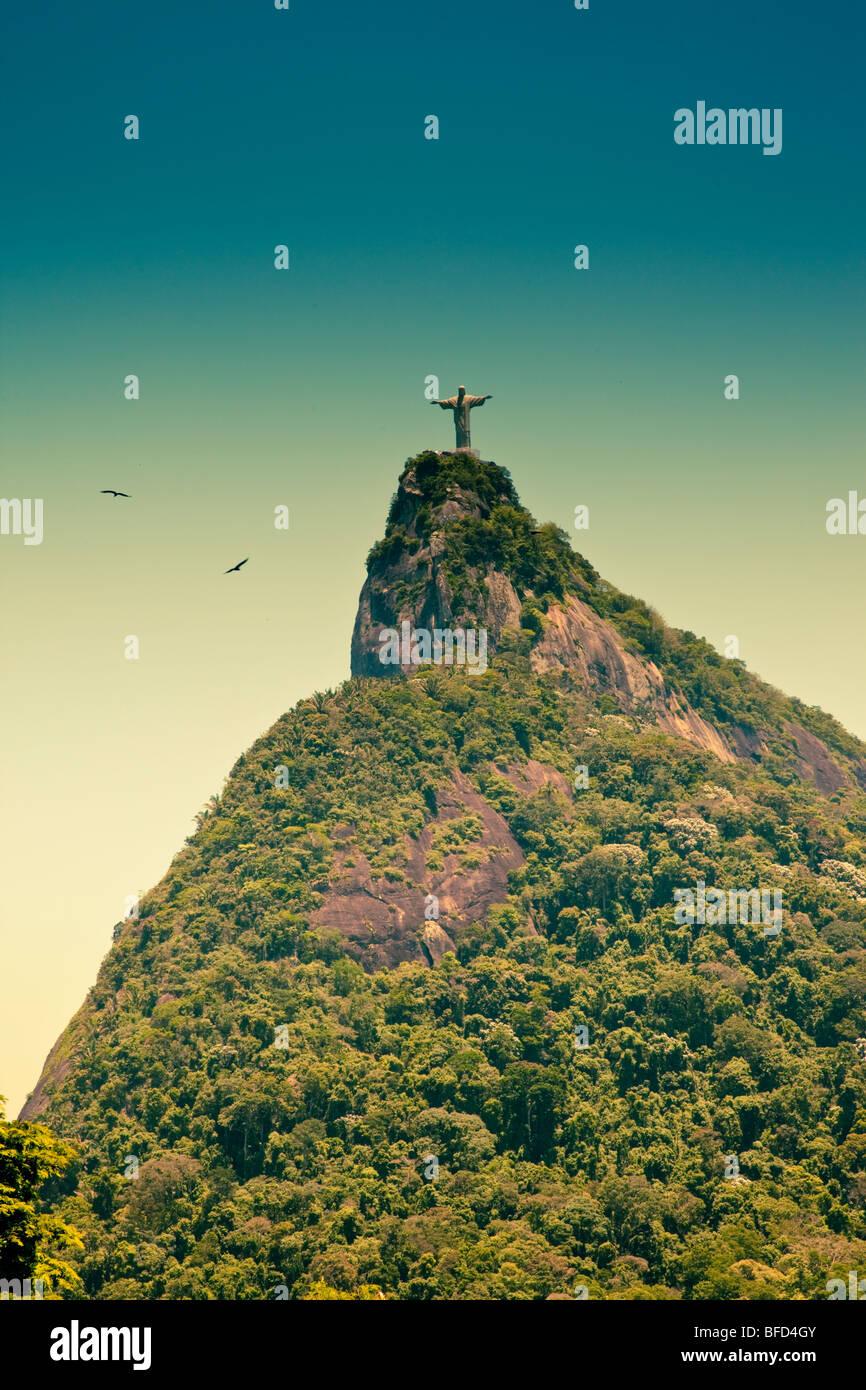 Corcovado et Jésus le Rédempteur à Rio de Janeiro Brésil Banque D'Images