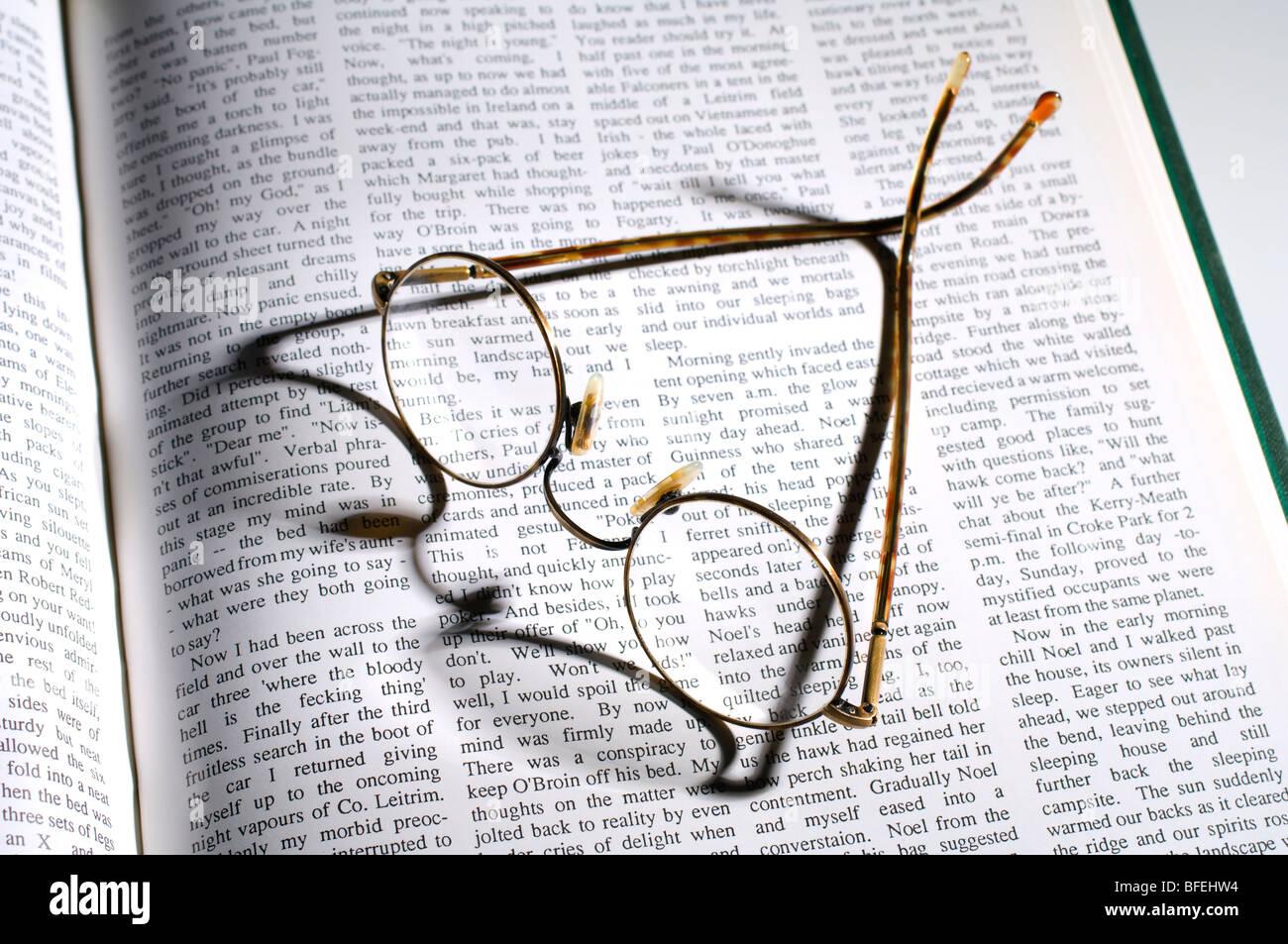 Spectacles assis sur un livre ouvert Photo Stock