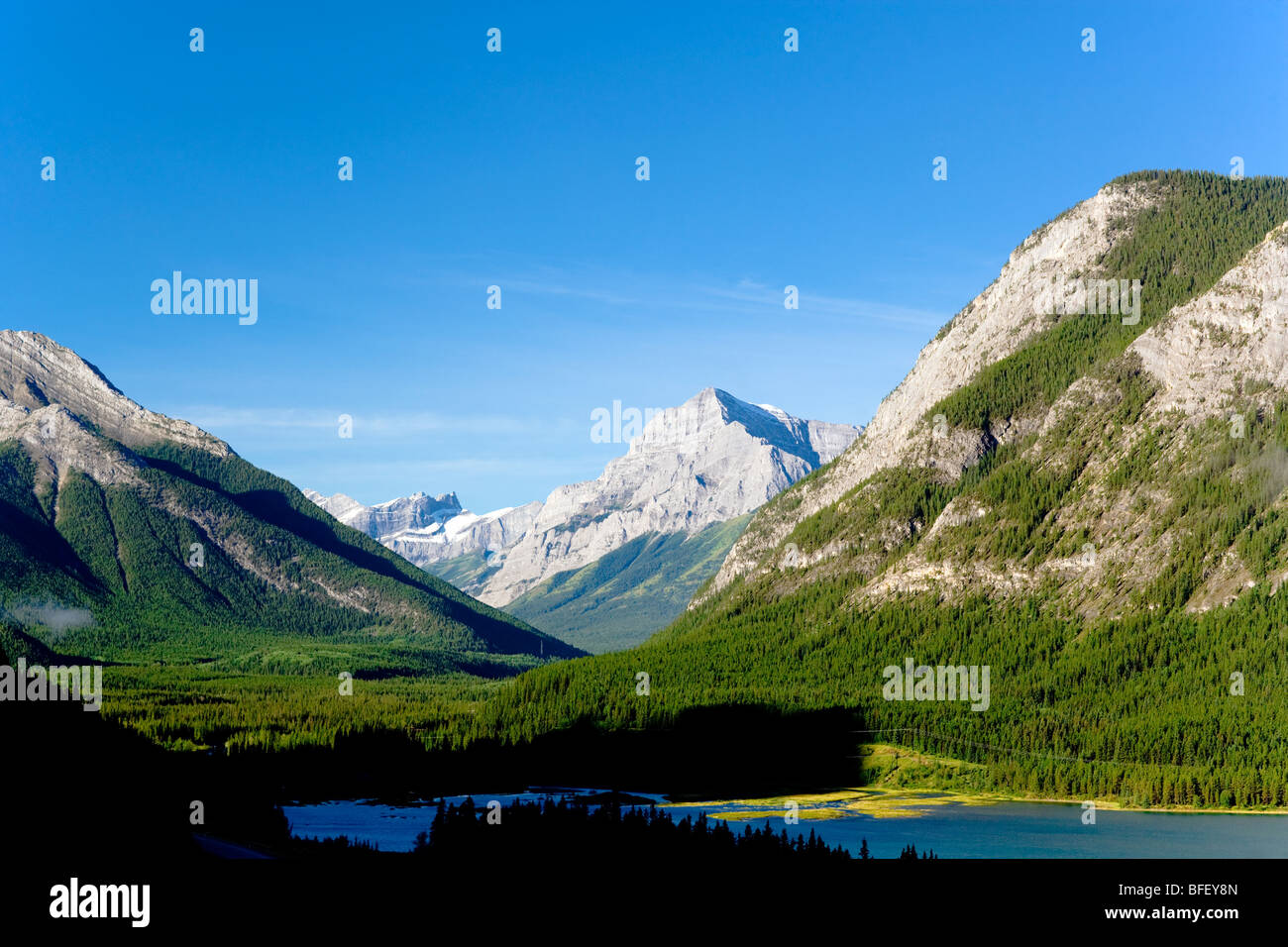 Le Lac Barrier, Kananaskis, Alberta, Canada, lac, montagne, Rocheuses, formation géologique, forest Photo Stock
