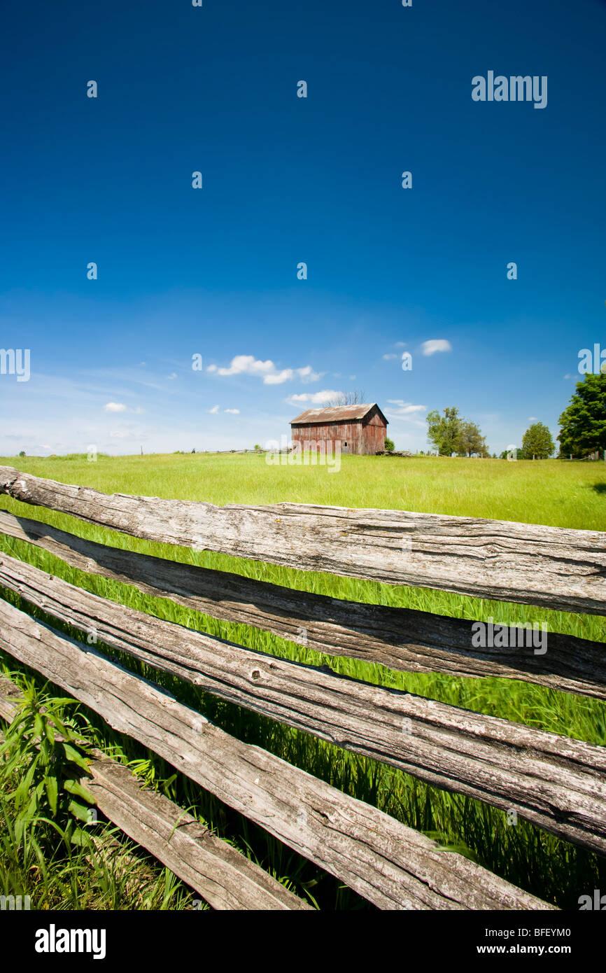 Ferme et clôture, Uxbridge, Ontario, Canada Photo Stock