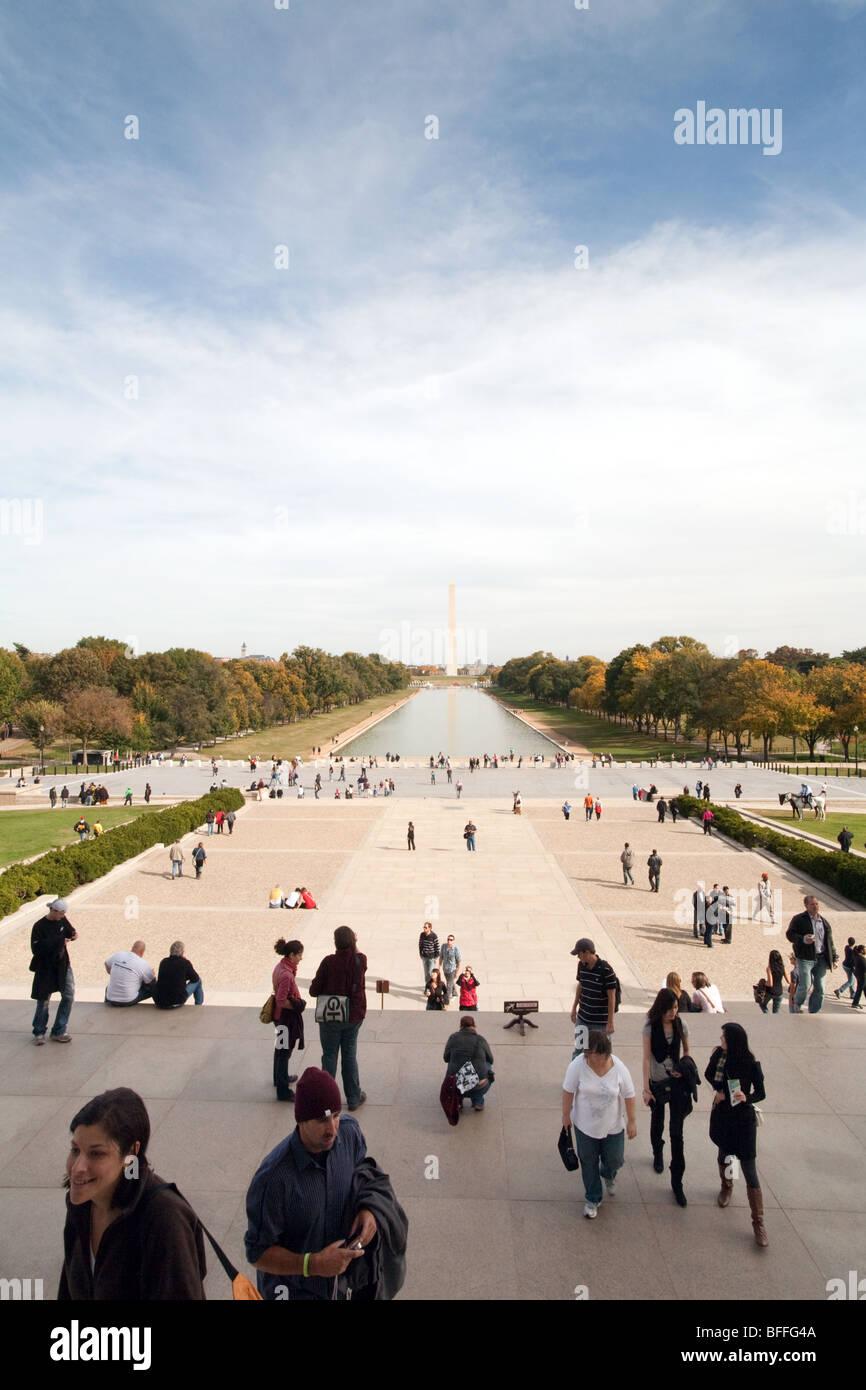 Une vue vers le Washington Monument du Lincoln Memorial, Washington DC USA Banque D'Images