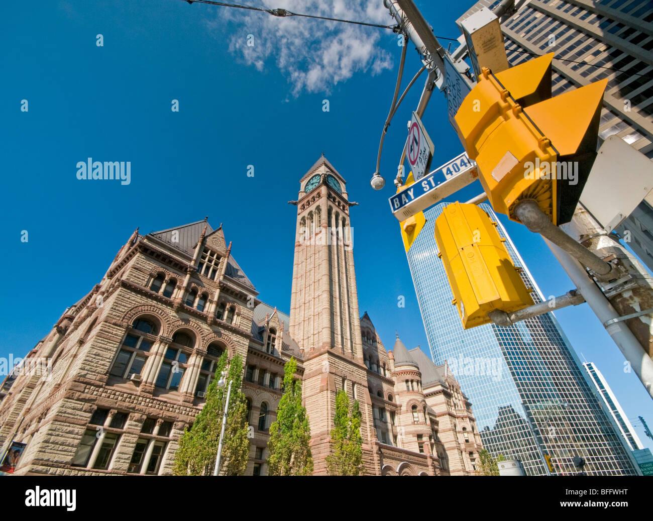 Ancien Hôtel de Ville, au coin de la rue Queen Ouest et Bay Street, Toronto, Ontario, Canada, Amérique Photo Stock