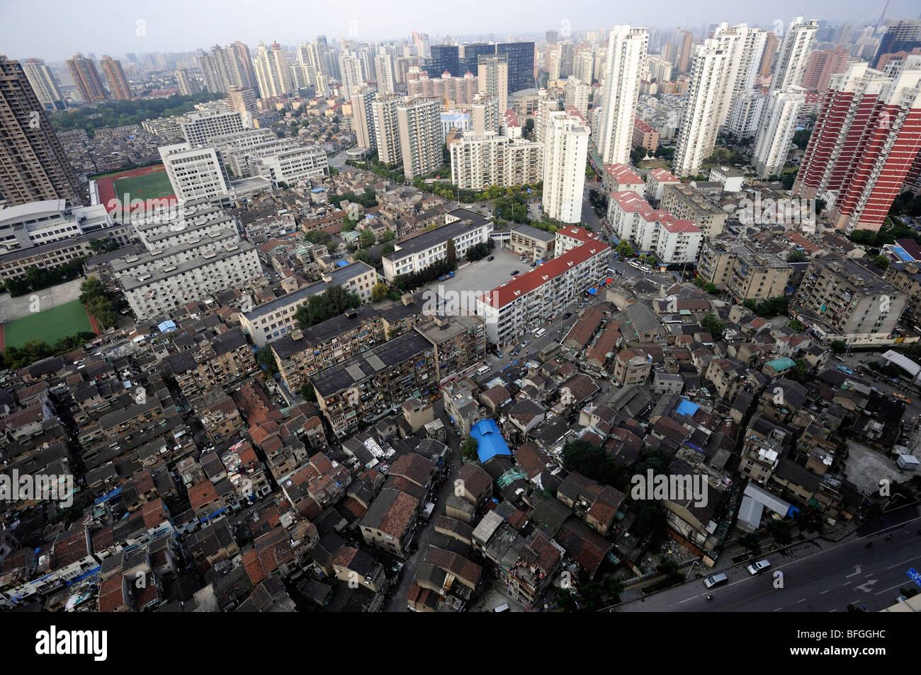 De vieilles maisons dans le district de Hongkou, à Shanghai, Chine. 08-Oct-2009 Photo Stock