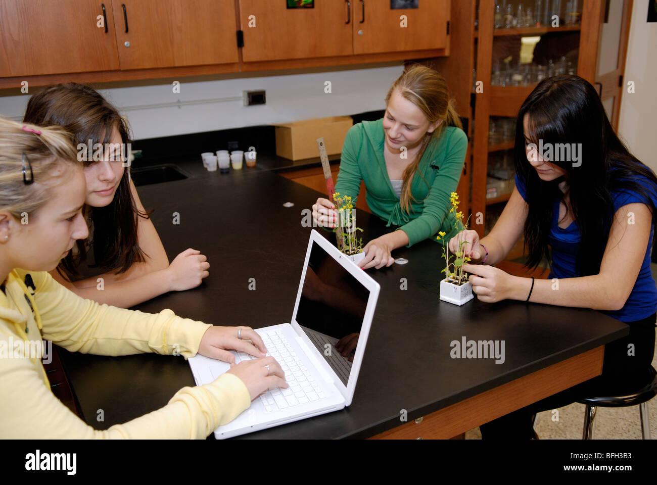 Les élèves du secondaire dans la classe de biologie des plantes de mesure pour une expérience et Photo Stock