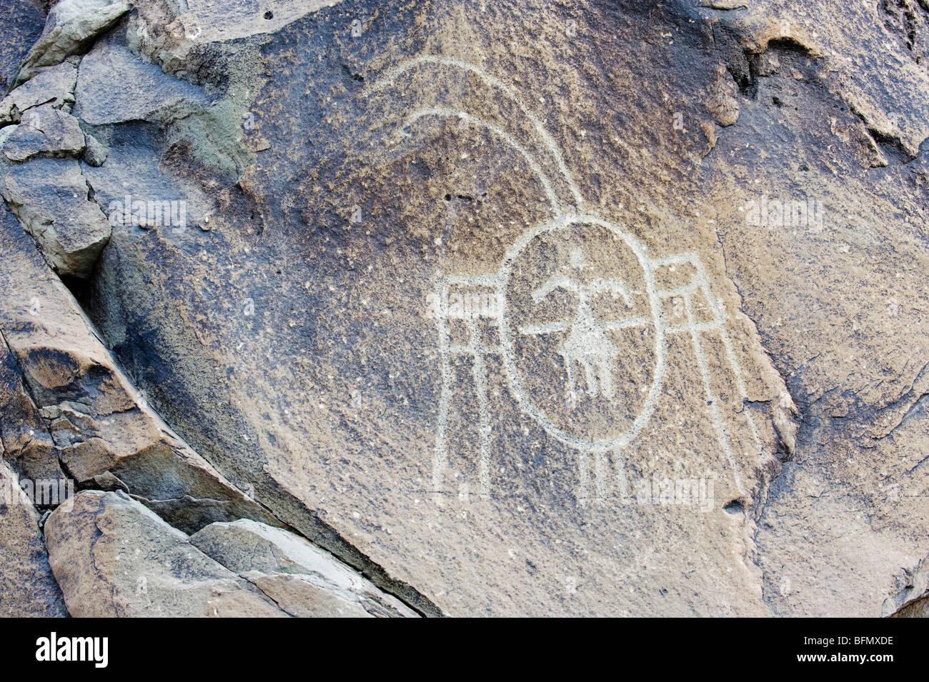 La Chine, de la province, Yinchuan Ningxia Helan Shan, nomades rock carvings remontant à 10 000 ans Banque D'Images