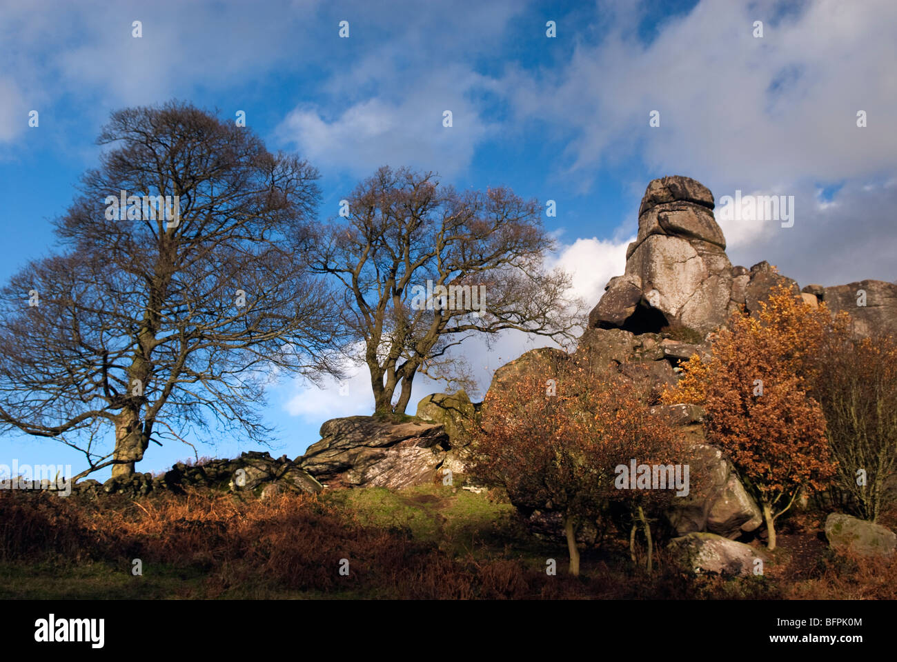 'Robin Hoods 'Stride rock formation in Derbyshire Photo Stock