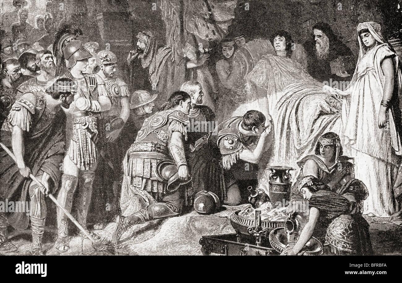 Mort d'Alexandre le Grand à Babylone en 323 avant JC. Photo Stock