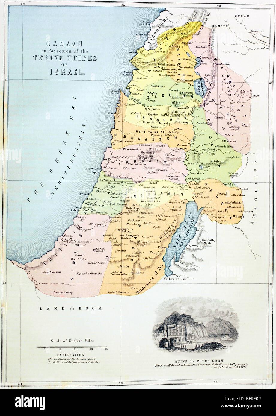Canaan, ou en Palestine, tel qu'il était divisé entre les douze tribus d'Israël. Photo Stock