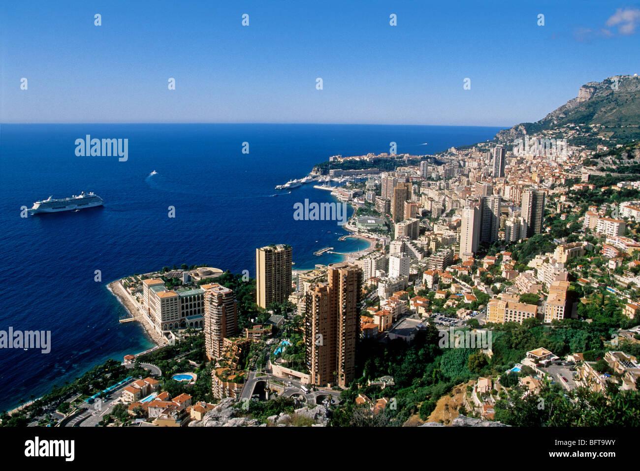 Vue de dessus de la Principauté de Monaco Banque D'Images