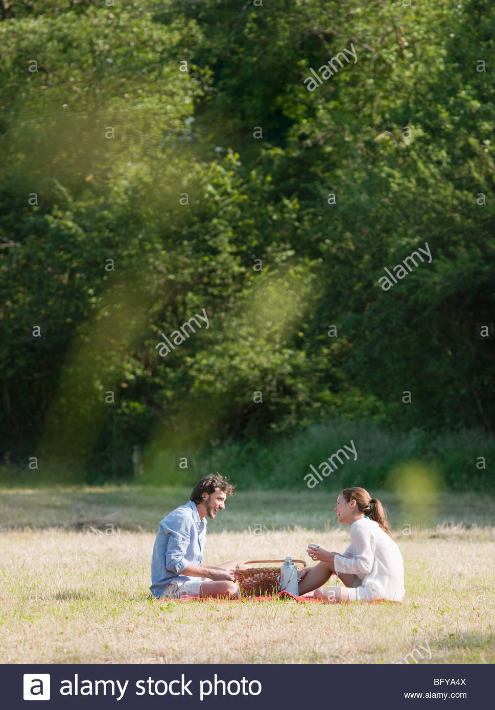 Couple having a picnic in countryside Banque D'Images