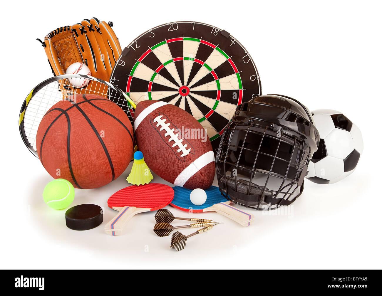 C'est un arrangement de plusieurs des articles de sport. Photo Stock