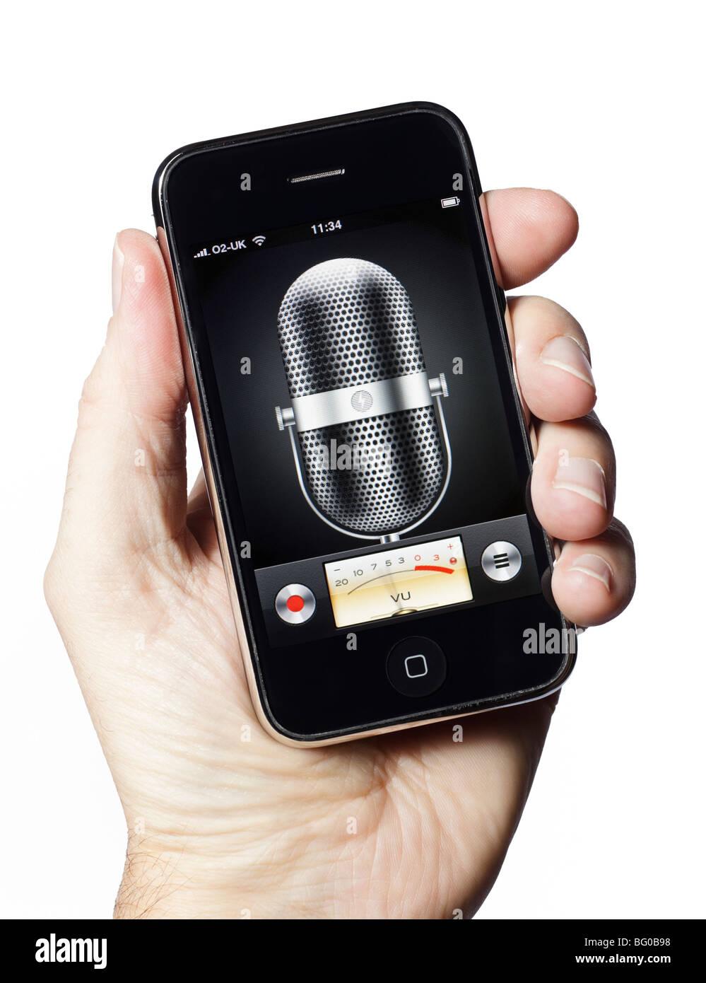 L'enregistrement audio du microphone sur un téléphone intelligent smartphone mobile phone Photo Stock