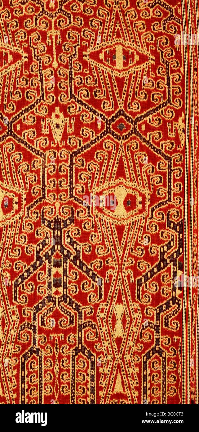Couverture de l'ikat de cérémonie Dayak Iban au Sarawak, Bornéo, Malaisie, Asie du Sud, Asie Photo Stock