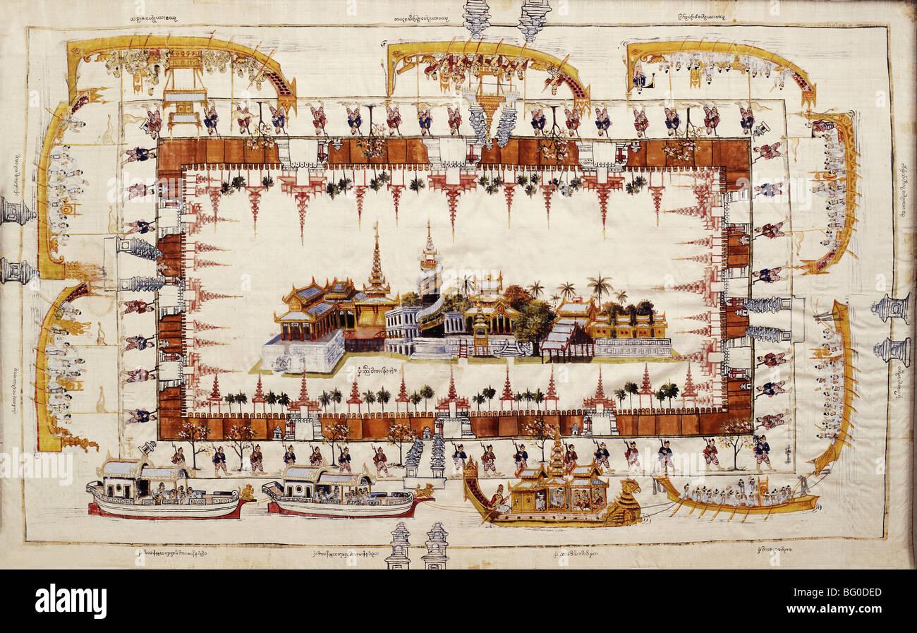 Un dessin sur un tissu de Mindon's Palace Mandalay, Myanmar (Birmanie), l'Asie Photo Stock