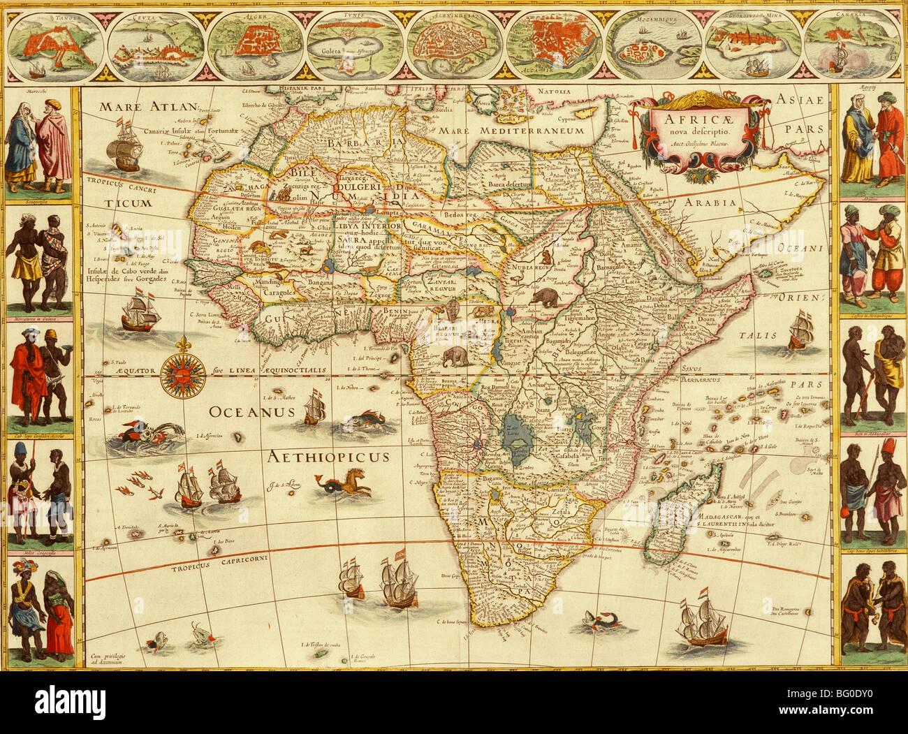 Carte De Lafrique Antique.Ancienne Carte De L Afrique Banque D Images Photo Stock