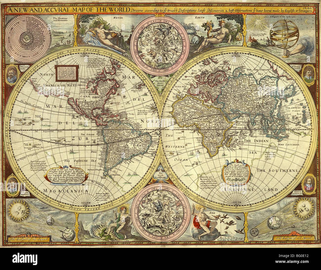 Ancienne carte du monde Photo Stock