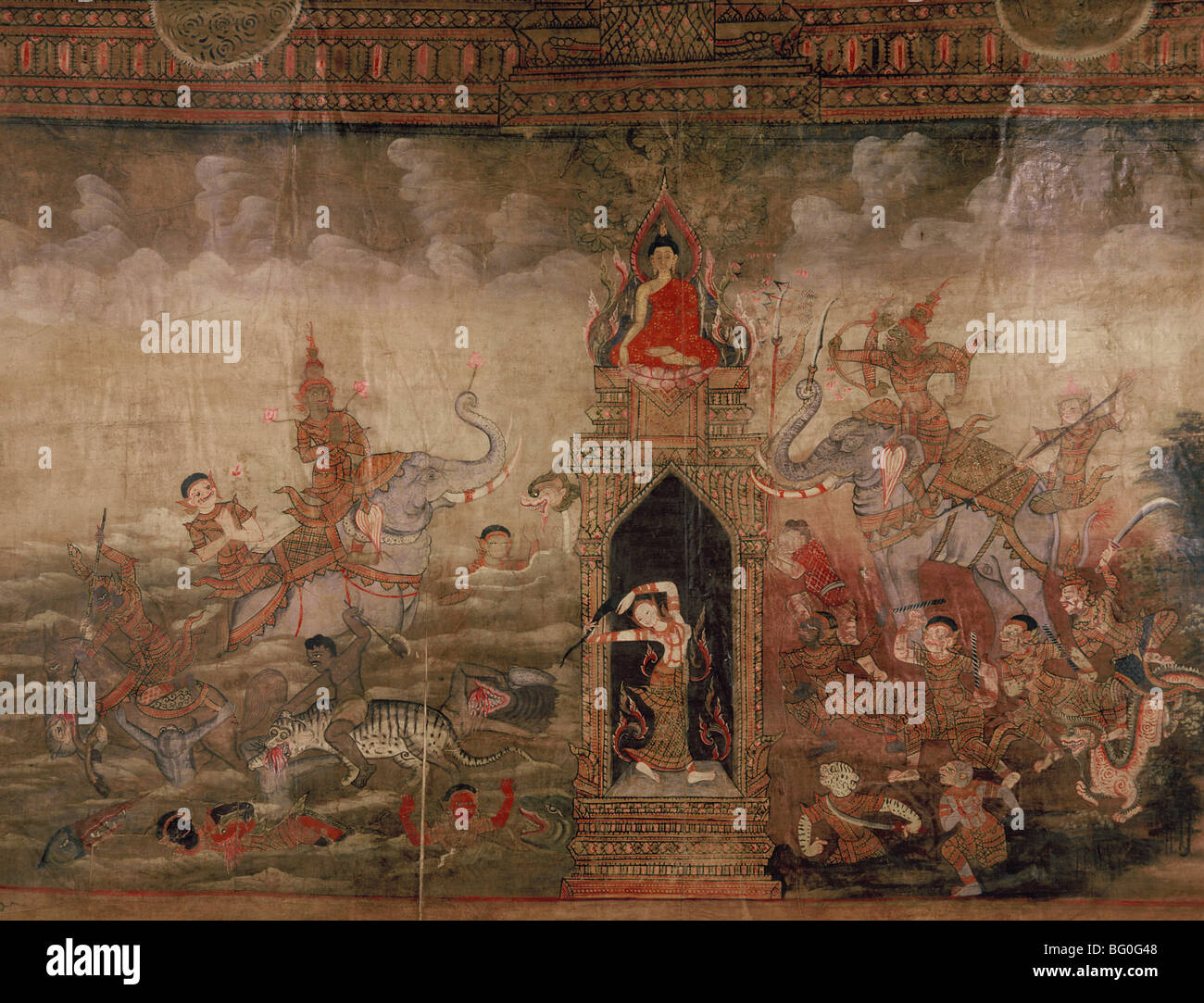 Peinture sur tissu, de Bouddha la victoire sur Mara, Thaïlande, Asie du Sud, Asie Photo Stock