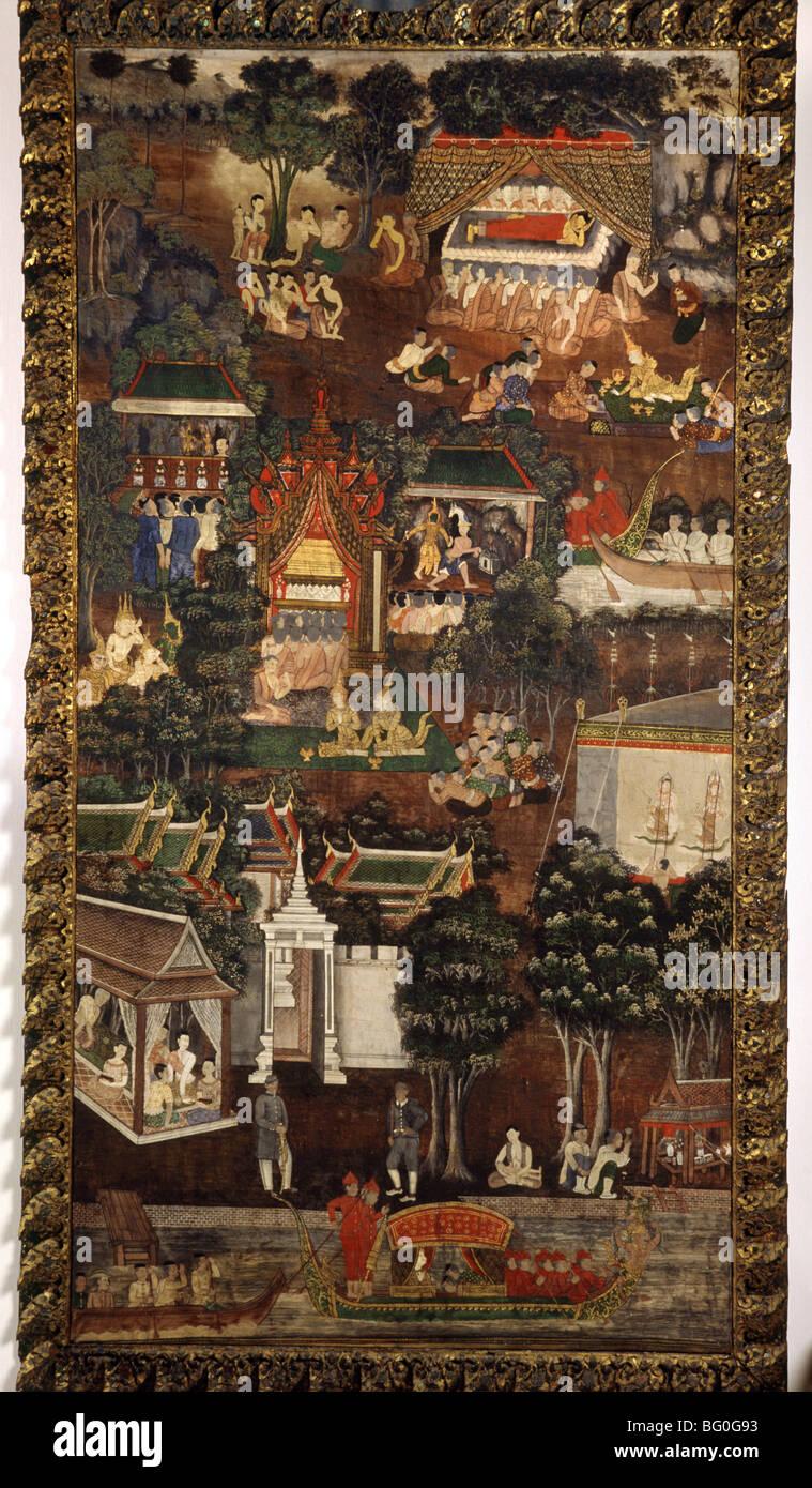 La mort de Bouddha, peinture sur tissu, Collection de Rangsit, Bangkok, Thaïlande, Asie du Sud-Est, Asie Photo Stock