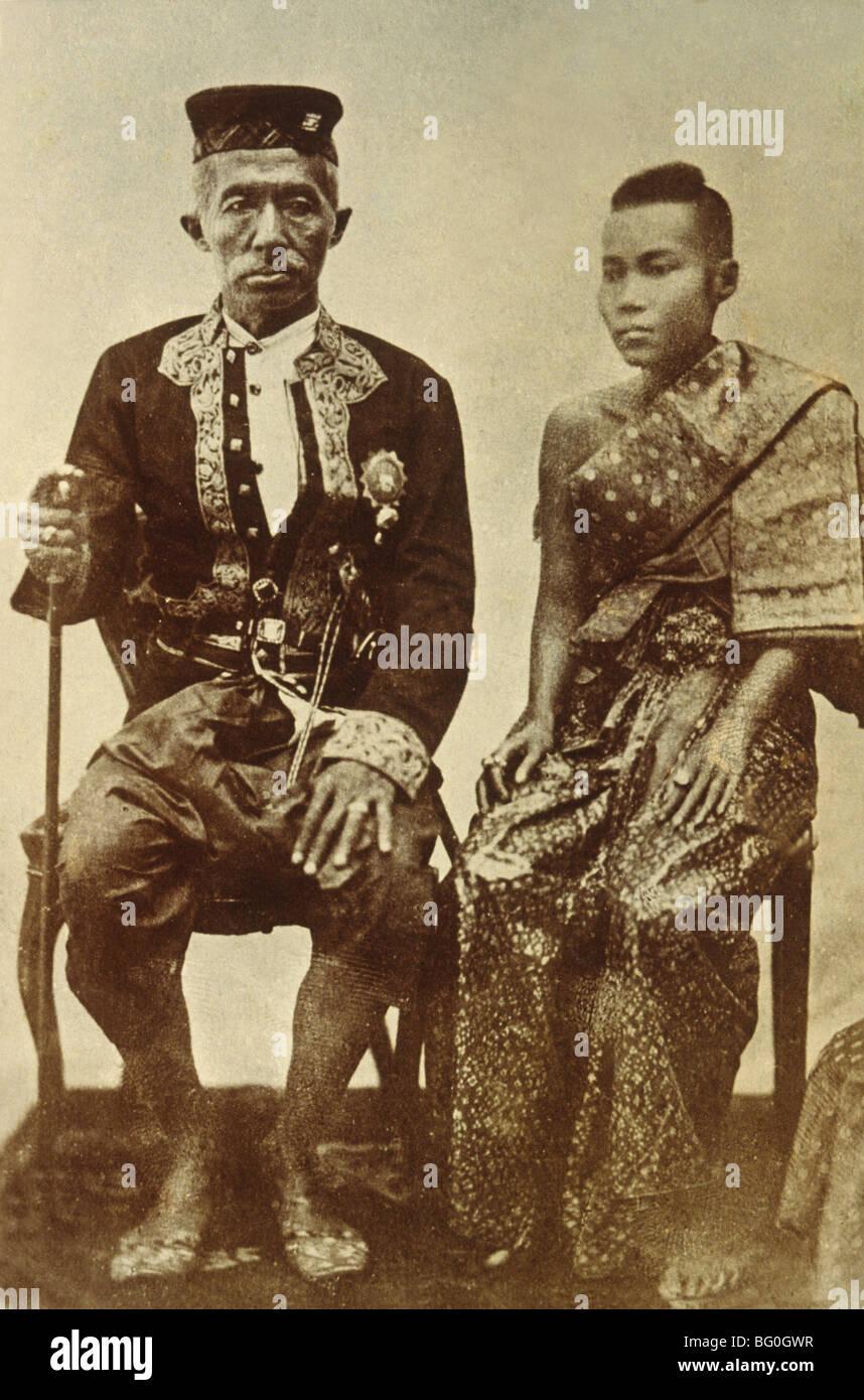 Photo du Roi Mongkut (Rama IV) a estimé entre 1951 et 1868, avec son épouse, en Thaïlande, en Asie Photo Stock