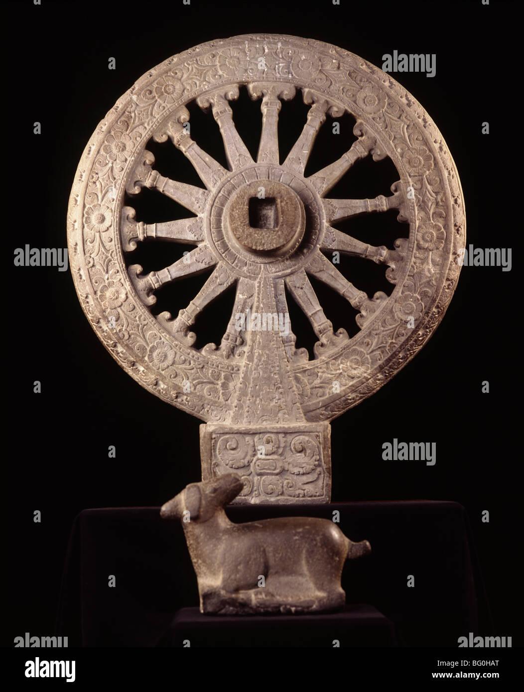 Roue de la loi datant de la période de Dvaravati, National Museum, Bangkok, Thaïlande, Asie du Sud-Est, Photo Stock