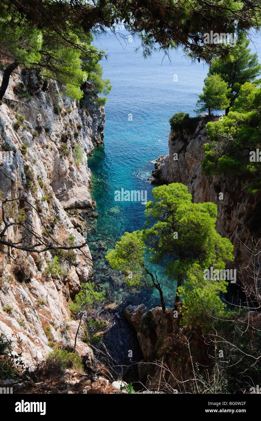 Près de Agnotas, Skopelos, Sporades, îles grecques, Grèce, Europe Photo Stock