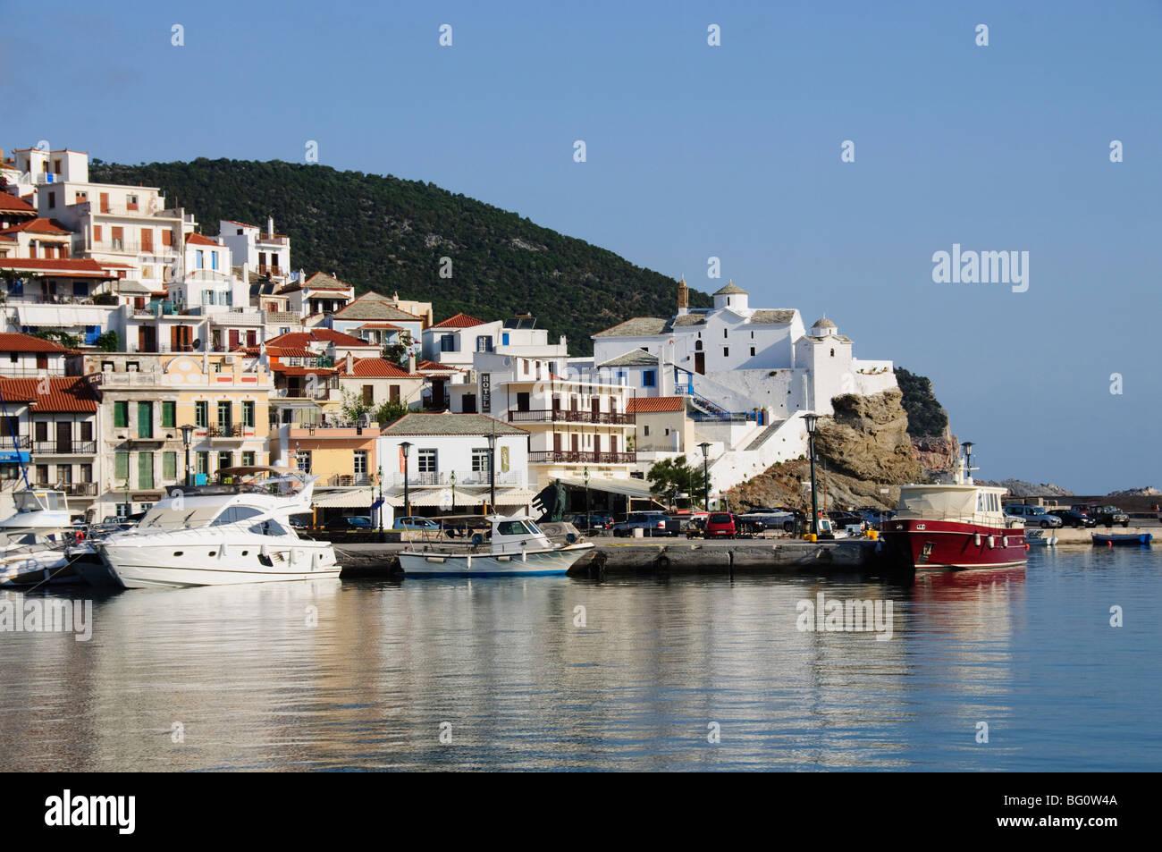 La ville de Skopelos, Sporades Skopelos, Îles, Îles grecques, Grèce, Europe Photo Stock